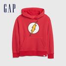 Gap男童 Gap x DC正義聯盟系列超人連帽長袖袋鼠口袋休閒上衣 496794-紅色