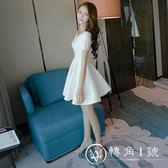 2018夏季新款女裝一字肩露肩a字蓬蓬裙白色夜店連衣裙性感小禮服