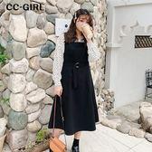 中大尺碼 繫腰帶吊帶背心連身裙 - 適XL~4L《 68004HH 》CC-GIRL