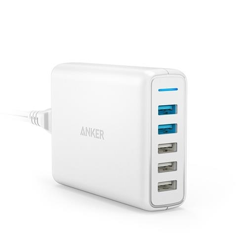 【日本代購】Anker PowerPort Speed 5  63 W 5端口 USB 快速充電器 適用於 iPhone 白色
