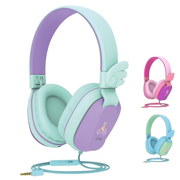 [2美國直購] Riwbox CS6 折疊耳機 共享式 麥克風 音量控制 兼容iPad/iPhone/PC/Kindle/平板 藍綠/紫綠/粉紫