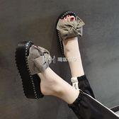 鬆糕鞋  厚底拖鞋女夏時尚外穿韓版百搭蝴蝶結鬆糕涼拖鞋  瑪奇哈朵