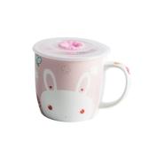 超萌兔子馬克杯家用喝水帶蓋帶刻度杯子女陶瓷情侶杯可愛卡通水杯
