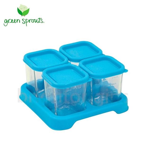 Green Sprouts 副食品小分裝盒120ml 一組4入(玻璃)-藍色[衛立兒生活館]