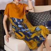 棉質藝術風印花拼接顯瘦洋裝-大尺碼 獨具衣格 J3631