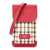 DAKS 英倫格紋PVC防刮皮革手機斜背包(紅色)230134-30