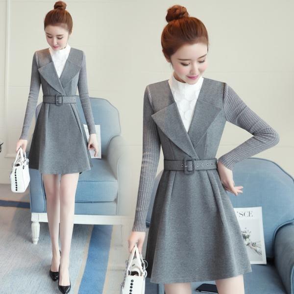 2018新款韓版初秋冬季長袖打底針織毛呢a字吊帶裙嬌小女裝矮個子 卡米優品