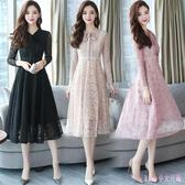 大尺碼蕾絲洋裝 秋季中長新款韓版氣質收腰顯瘦打底長袖連身裙女式 DR4545【Rose中大尺碼】