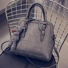 手提包-時尚簡約軟面菱格肩背女貝殼包2款6色72an1【巴黎精品】
