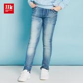 JJLKIDS 女童 個性鉚釘刷白仿舊牛仔褲(牛仔藍)