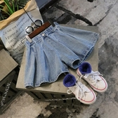 2019夏裝新款女童兒童童裝寶寶洋氣立體闊腿牛仔短褲熱褲百褶裙褲