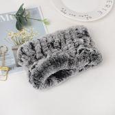 韓版真獺兔毛圍巾女冬季皮草圍脖套頭加厚保暖彈力毛絨圍脖毛領子    易家樂