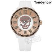 Tendence 天勢表 / TY330008 / 骷髏系列 立體時標 礦石強化玻璃 防水100米 矽膠手錶 玫瑰金x白 52mm