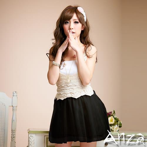 【AnZa】勾織背心拼接網紗蓬裙洋裝