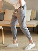 棉麻褲 夏天褲子男韓版潮流休閒褲亞麻九9分修身八分小腳薄款棉麻哈倫褲 瑪麗蘇