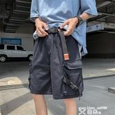 五分褲 ins超火口袋工裝褲休閒大碼寬鬆五分潮流個性港風5分短褲男生中褲 艾維朵