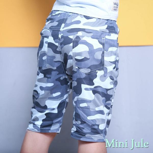Mini Jule 男童 褲子 滿版迷彩字母貼布鬆緊短褲(藍)