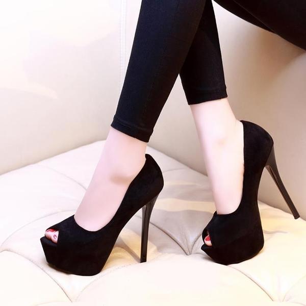 高跟鞋 2020春超高跟鞋14cm夜場防水臺性感細跟職業少女小碼黑色魚嘴單鞋