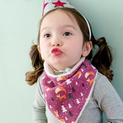 韓國紫色狐狸加絨保暖三角領巾 冬款棉感圍兜 口水巾