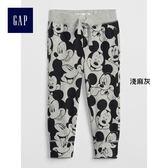 Gap x Disney男嬰幼童 迪士尼系列舒適米奇圖案束腿休閒褲 358921-淺麻灰