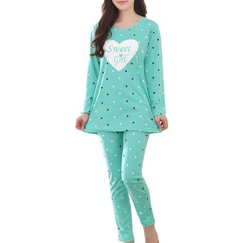 女孩心形甜夢休閒套裝睡衣(綠色)