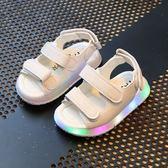 夏季嬰兒涼鞋寶寶軟底學步鞋0-1-3歲女童鞋子男童沙灘鞋LED閃燈鞋 〖korea時尚記〗