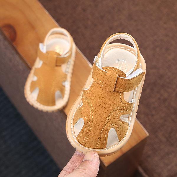 學步鞋夏季0-1-2歲寶寶涼鞋男女嬰兒軟底學步鞋幼兒叫叫鞋防滑包頭涼鞋【週年慶免運八五折】