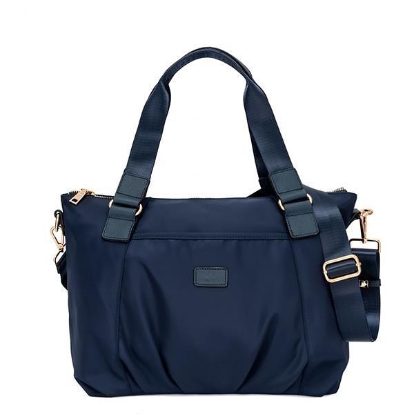 【南紡購物中心】J II 托特包 配皮防潑水肩背托特包-深藍色-8103-2