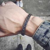 手鍊 日韓版鈦鋼開口五角星手鐲男士創意個性飾品情侶手環潮男復古手飾