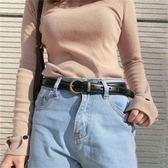 復古學生皮帶女牛仔裝飾優雅簡約百搭時尚個性韓國版腰帶黑色潮流 挪威森林