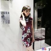 [Bbay] 韓版夏裝夜店性感開叉修身顯瘦花色包臀收腰旗袍連身裙女