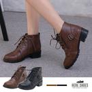 [Here Shoes]MIT台灣製 個性帥氣綁帶圓頭 側拉鍊 粗中跟4cm 短靴 靴子 2色─KT2197