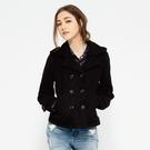 SISJEANS-黑色雙排扣毛料連帽外套...