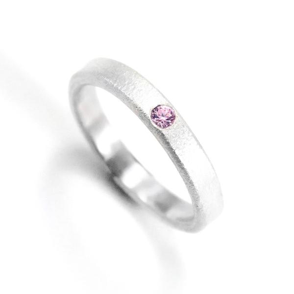 3mm 霧面 質感劃鑲鑽戒 純銀戒指 (5色可選)