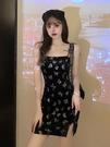 性感蝴蝶吊帶連身裙女2021新款夏季港味夜店風收腰氣質開叉裙子潮 非凡小鋪