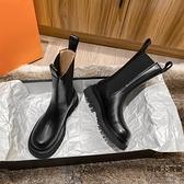 馬丁靴女全牛皮真皮中筒厚底切爾西短靴冬加絨【時尚大衣櫥】
