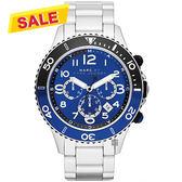 Marc Jacobs Rock 搖滾魅力計時手錶-藍x銀/46mm MBM5055