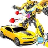 一鍵變形玩具金剛5模型大黃蜂加大汽車機器人男孩兒童