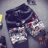 沙灘褲休閒短褲男夏天五分直筒褲寬松運動褲【橘社小鎮】