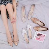 秋冬女鞋百搭珍珠裝飾蝴蝶結尖頭套腳單鞋女平底鞋