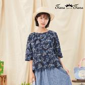 【Tiara Tiara】百貨同步新品aw  單釦印花圓領上衣(深藍/淺藍/綠)