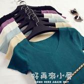 2019夏季新款簡約純色v領修身短袖T恤女短款顯瘦打底針織衫上衣薄 好再來小屋