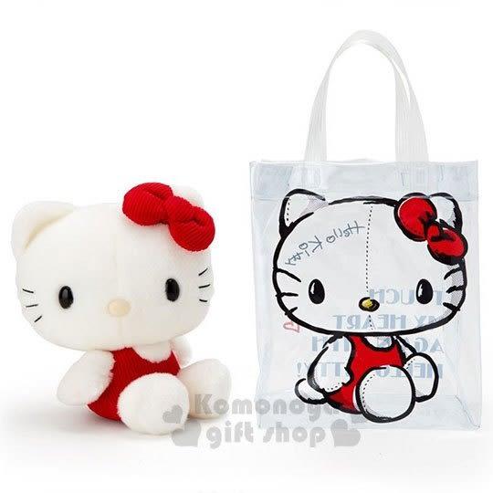 〔小禮堂〕Hello Kitty Action 絨毛玩偶娃娃提袋組《紅白》70 s復古手稿系列 4901610-13558