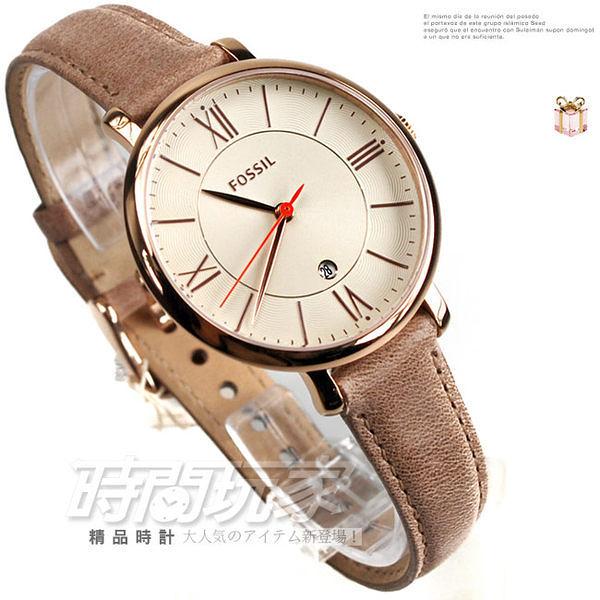 ES3487 FOSSIL 玫瑰金電鍍 玫瑰金面 裸色皮帶 35mm 女錶 時間玩家