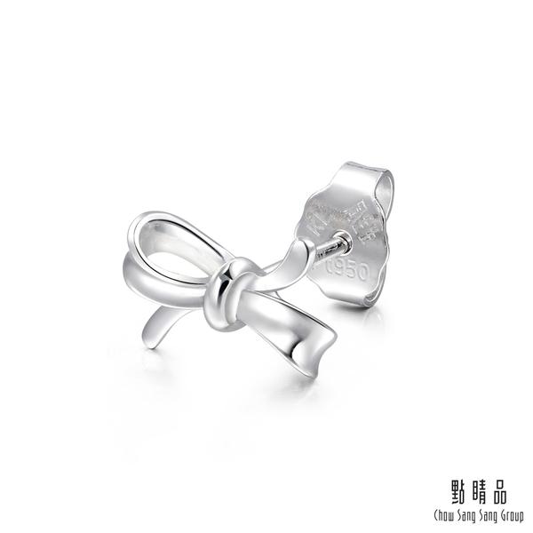 點睛品 Ear Play 鉑金絲帶蝴蝶結 單邊耳環(單只)