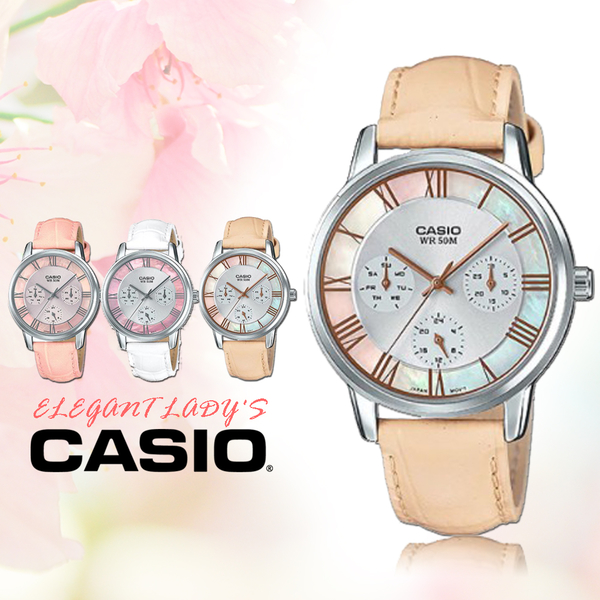 CASIO手錶專賣店 CASIO_LTP-E315L-7A2  真皮錶帶 礦物玻璃 50米防水