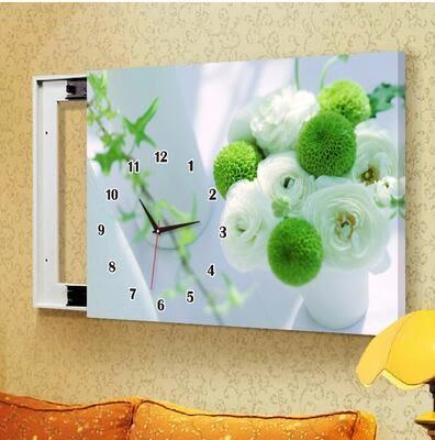 C14款電箱簡約現代壁畫帶鐘錶可推拉遮擋電錶箱裝飾畫&60x50(內徑50*40)