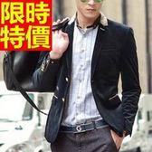 韓版 西裝外套 男西服 奢華質感-時髦金絲絨走秀款細緻65b16[巴黎精品]
