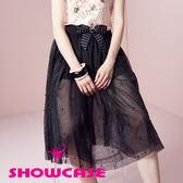 【SHOWCASE】玫瑰印花紗手縫珠蕾絲長裙(黑)