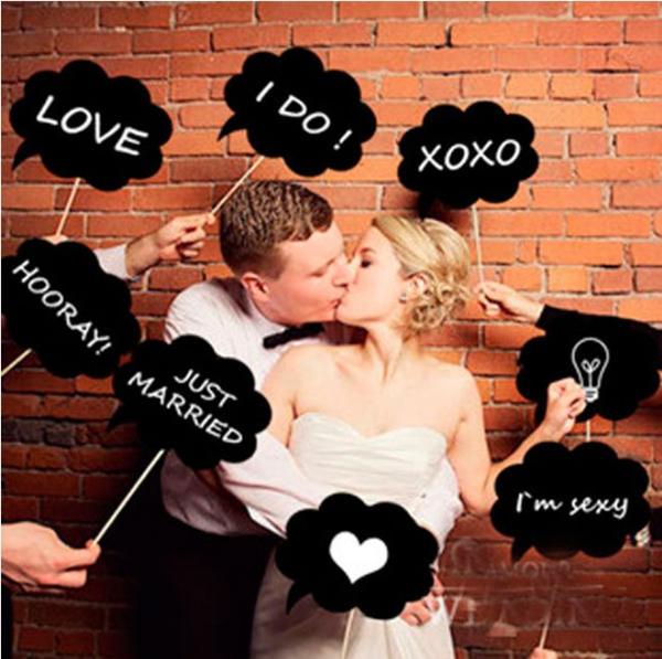 10件套不相同形狀黑雲對話框 小黑板 新式婚禮 拍照道具─預購CH274